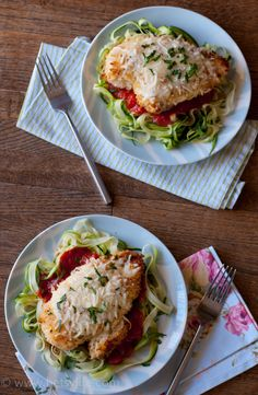 Baked Chicken Parmesan Over Zucchini Noodles