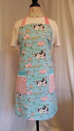 Items similar to Adorable barnyard animal print with pink ties adjustable apron, full-length apron, utility apron, multi-purpose apron, full apron on Etsy Work Aprons, Gardening Apron, Barnyard Animals, Pink Ties, Body Types, Super Cute, How To Wear, Etsy, Tops