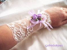Pair Of Ivory Purple Roses Strech Lace Cuff Bracelet Fabric Victorian Jewelry. 1870s feminine Whimsical vintage style on Etsy, $20.00
