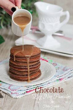 Chocolate Eggnog Baby Pancakes with Caramel Eggnog Syrup, so delicious and great for the Holidays!