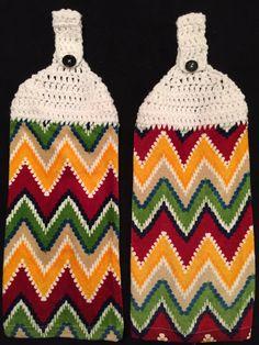 Crocheted Top Dish Towel - Chevron by HandMadeInMadison on Etsy
