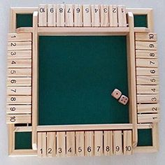 """Vidatoy Deluxe Four Sided 10 Numbers Shut the Box Board Game Wooden Toy 12""""12"""""""