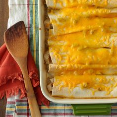 Chicken Enchiladas for Four Recipe from Taste of Home -- shared by Karen Bourne of Magrath, Alberta Enchilada Casserole, Enchilada Recipes, Casserole Recipes, Chicken Casserole, Spinach Casserole, Casserole Dishes, Mexican Dishes, Mexican Food Recipes, Mexican Meals