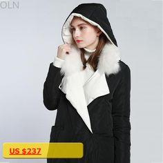 Luxury Black White Duck Winter Long Down Jackets Brands Women Hooded Real Fur Coat Female Parka Womens Coats doudoune femme