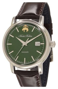 Brooks Brothers 'Core' Automatic Leather Strap Watch, 42mm