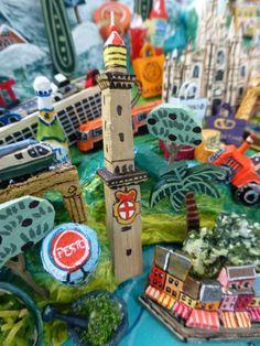 Sara Drake - Genoa detail from a larger 3D illustrated map of Italy - papier mache, acrylic paint, balsa wood and mixed media. saradrake.com