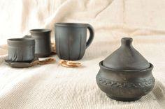 Black smoked ceramic sugar bowl by ClayNCeramicDishware on Etsy