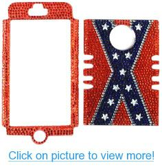 Cell Armor I5-RSNAP-FD185 Rocker Snap-On Case for iPhone 5 - Retail Packaging - Diamond Crystal Rebel Flag