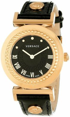 Versace Women's Vanity Rose Gold Ion-Plated Stainless Steel Leather Band Watch Cool Watches, Watches For Men, Women's Watches, Diy Leather Bracelet, Rolex, Expensive Watches, Leather Watch Bands, Beautiful Watches, Luxury Watches