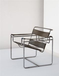 """Wassily"" club chair, model no.B3, Manufactured by Gebrüder Thonet, Germany. Designed by Marcel Breuer, c.1930-1931, Literature: Christopher Wilk, Marcel Breuer Furniture and Interiors, exh. cat., Museum of Modern Art, New York, 1981, p51, fig.41 for a period photo of the B3 in Laszlo Maholy-Nagy's living room, 1926 / Alexander von Vegesack, et al., eds., Thonet Tubular Steel Furniture, First Complete Catalogue Collection of German and French Models 1930-1931, Weil am Rhein, 1989, n.p"