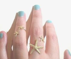 Starfish Ring Double  Starfish Ring Double Wrap Mermaid Statement by AWildViolet on Etsy size 8