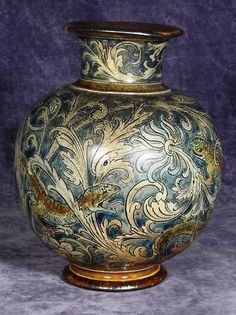 1891 A  Vase. Edwin was the decorator and Walter threw the pots. Martin Brothers Stoneware Pottery 1873 - 1915