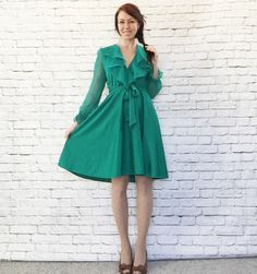 Vintage 70s Ruffled Teal Dress Sheer Belted Knee Length Disco Swing Skirt M L Petite by PopFizzVintage on Etsy