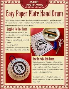 An easy Native American hand drum craft perfect for Native American heritage month or exploring the first nations/Indigenous people of your area.