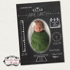 Digital Photo Birth Announcement Template for Photographers, 5x7 Card with Chalkboard Design, PSD Template, Instant Download
