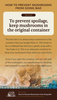 I you can, avoid transferring your store-bought mushrooms from its original packaging.These packaging that they come with are specifically designed to ensure the freshness of the mushrooms therefore, there's no need to move them to another container. | Discover more about medicinal mushrooms at ultimatemedicinalmushrooms.com