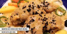 Propuesta de plato para la Ruta Dorada de la Trufa del Restaurante soriano Mesón Castellano: Manitas de cerdo con trufa negra.