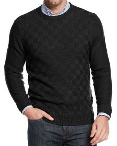 Geoffrey Beene Mens Knit Checkered Crewneck Sweater, Men's, Size: Large, Black