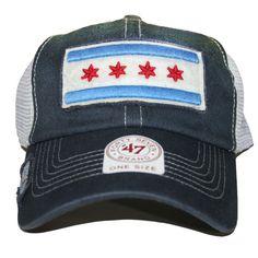 Chicago Flag Adjustable Hat in Navy, Chicago | ]