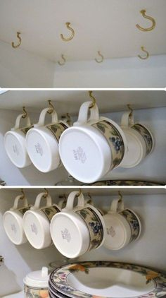 Install Hooks In The Cabinet Ceiling For Hanging Mugs - 23 Shockingly Easy DIY K. - Install Hooks In The Cabinet Ceiling For Hanging Mugs – 23 Shockingly Easy DIY Kitchen Organizati - Organization Ideas For The Home Diy, Small Pantry Organization, Organizing Hacks, Kitchen Cabinet Organization, Bedroom Organization, Cabinet Storage, Pantry Storage, Diy Ideas, Extra Storage