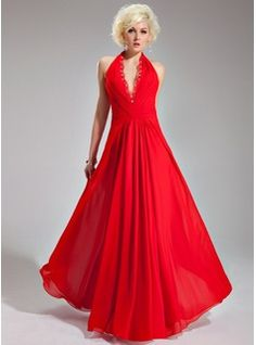 A-Line/Princess Halter Floor-Length Chiffon Evening Dress With Ruffle Lace Beading (017019761) - JJsHouse