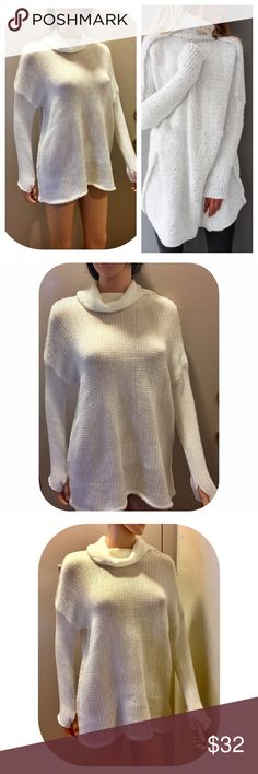 SALE! 🎉HP🎉White Oversized Cowl Neck Sweater 🎉Host Pick: Holiday Glam Party, 12/24, chosen by @mandriac🎉 Oversized chunky, cable knit, cowl-neck, batwing sleeve knitted sweater. Available in heather gray, cream, dark gray and pink. Cotton blend. 72% cotton, 28% polyester. Super soft! Sweaters Cowl & Turtlenecks