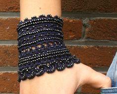 crochet beaded cuff bracelet statement jewelry by MySecretHistory