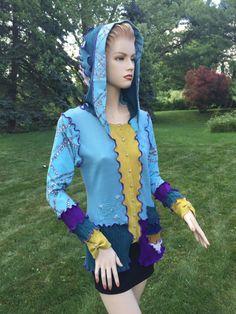 Sweater Pixie Hood M Size Woolfree Cardigan by DesignbyNatalia
