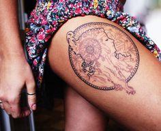 alphonse mucha tattoo on upper thigh