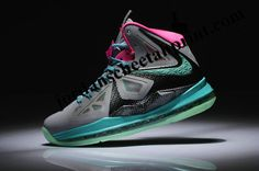 Womens Nike Lebron 10 South Beach Grey Black ThinkPink