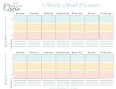 free 2 week meal planner printable