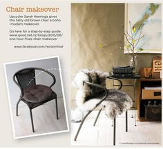 Upcycler Sarah Heeringa gives this tatty old brown chair a boho -modern makeover.   Go here for a step-by-step guide: www.good.net.nz/blogs/2015/06/one-hour-fixes-chair-makeover  www.facebook.com/reclaimthat #reclaimthat #Sarah_Heeringa