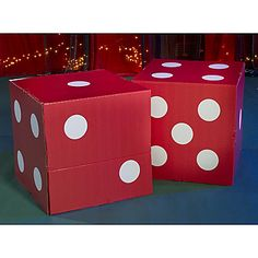 idea for hanging ceiling dice? spray paint square tissue boxes and hang...