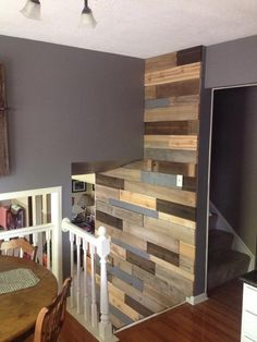 Wood Planking Wall - All boards are either natural finish, vinegar stained or painted grey to match the color of the opposing walls. The grey could be replaced with any color to match your opposing walls. Vinegar Stain, Loft Furniture, Planking, Hippie Life, Repurposed, Restoration, Boards, Walls, It Is Finished