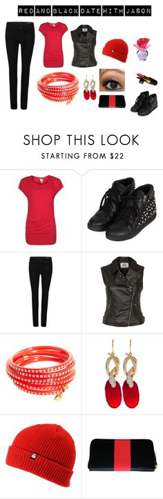"""""""Red and Black Date with Jason"""" by whittni-jade ❤ liked on Polyvore featuring Bench, Topshop, AllSaints, Vero Moda, Nali, Isharya, OBEY Clothing, Clare V., Chanel and Justin Bieber"""