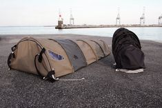 urban rough sleepers backpack turns into a homeless shelter