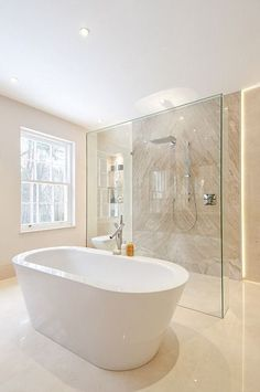 Take a look at a variety of master bathroom styles as you dream up your personal bathroom renovations. Tips, tricks, and loads of fresh, fun, and functional bathroom design tips are in your fingertips. Luxury Master Bathrooms, Contemporary Bathrooms, Contemporary Bathroom Inspiration, Small Bathrooms, Modern Contemporary, Bathroom Layout, Bathroom Interior Design, Modern Interior, Bathroom Ideas