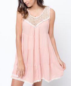 Dusty Coral Crochet-Accent Sleeveless Dress #zulily #zulilyfinds
