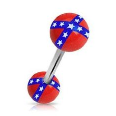 """14g Surgical Steel Tongue Ring Barbell Body Jewelry Piercing with Rebel Flag Logo Design Acrylic Balls 14 Gauge 5/8"""" Nemesis Body JewelryTM"""