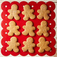 Gluten-free flour stands in for regular flour in these crisp, festive cut-out cookies that taste amazing. To decorate, dust cookies with sanding sugar before you bake them or drizzle and pipe on royal icing once they've cooled. Gluten Free Gingerbread Cookies, Gluten Free Cookies, Gluten Free Desserts, Gluten Free Recipes, Gf Recipes, Diabetic Recipes, Recipies, Healthy Recipes, Ginger Bread Cookies Recipe