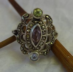 Vintage Ring,Amethyst Ring, Amethyst, Peridot and Topaz Ring, Vintage Jewelry, Victorian Style Jewelry, Statement Ring, Gift Idea, For Her