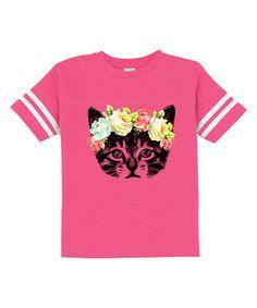 Hot Pink Rose Crown Cat Football Tee - Toddler & Girls #zulily *too cute