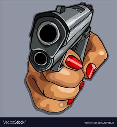 Womens cartoon hand with red manicure holding gun Vector Image , Pencil Art Drawings, Easy Drawings, Drawing Sketches, Arte Dope, Dope Art, Dope Cartoon Art, Cartoon Images, Chicano, Pistol Drawing