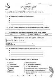 English worksheet: Global Climate Change Quiz