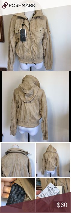"""Guess drip dry  bomber jacket with hided hoodie Size M , color beige , this jacket is light weight jacket ,Drip dry not iron style fabric, full zipper closure, hided zipper pocket hoodie ,sleeves 18.5"""", waist length Guess Jackets & Coats"""