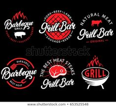 restaurant logo Vector set of grill bar and bbq labels in retro style. Vintage grill restaurant emblems, logo, stickers and design elements. Collection of barbecue signs, symbols and icons. Black and red color style. Logo Restaurant, Barbecue Restaurant, Restaurant Design, Orange Restaurant, Gfx Design, Logo Design Trends, Logo Design Inspiration, Branding Design, Bbq Logo
