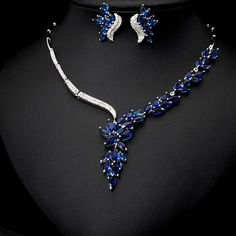 Blue Zircon Shipping Platinum Plated AAA Cubic Zircon Jewelry Sets ,Earrings /Necklace,Promotion,Nickel Free, Factory price $56.98