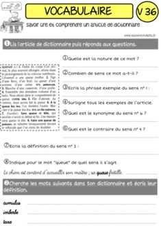 """UNE ANNEE DE VOCABULAIRE """"CLES EN MAIN"""" ! French Worksheets, French Class, Cycle 3, Vocabulary, Teaching, Education, School, Animation, French Stuff"""
