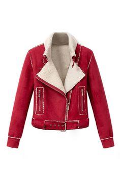 ROMWE | Zippered Red Short Style Coat