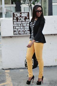 Black blazer + mustard pants